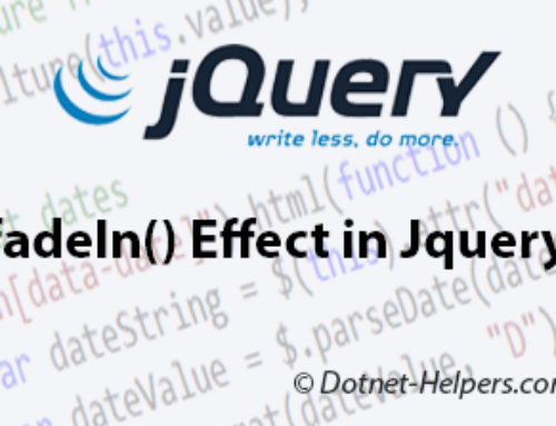 fadeIn() Effect in Jquery