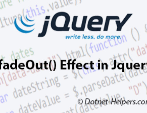 .fadeOut() Effect in Jquery