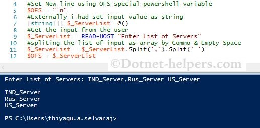 How to get the array as input using Powershell – Dotnet Helpers