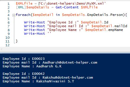 Reading XML Files With PowerShell – Dotnet Helpers